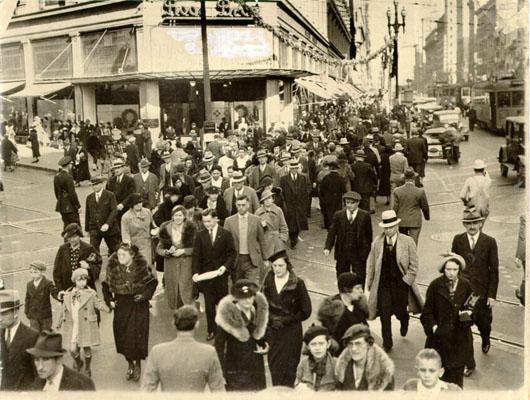 Compere di Natale in Market Street nel 1935