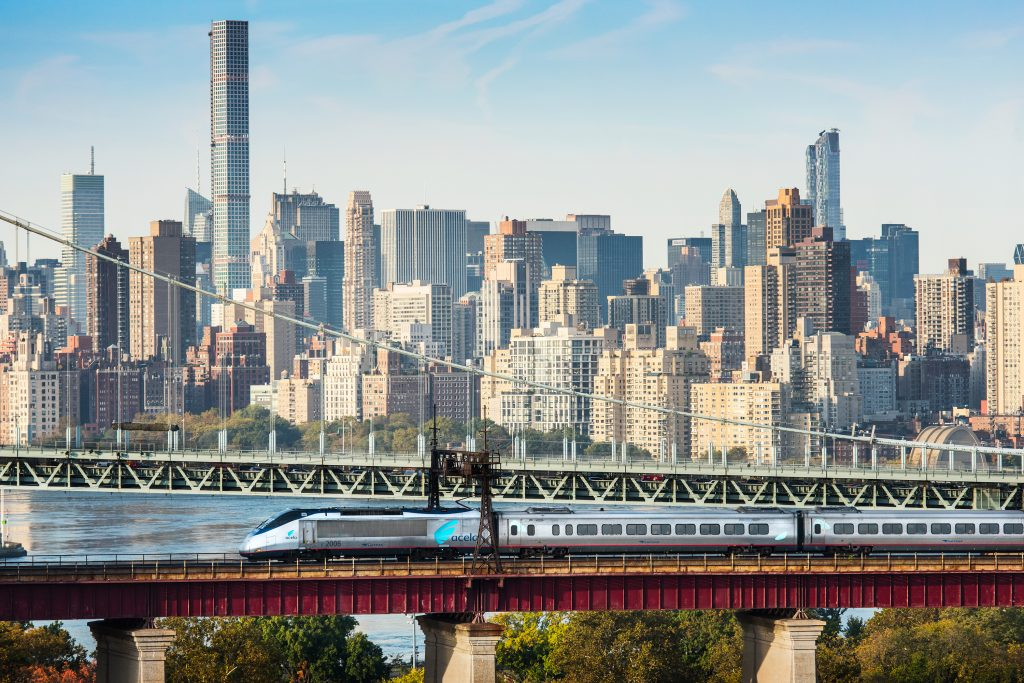 Acela express New York skypline